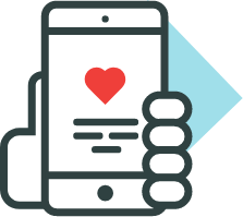 physical therapy phone app with heart icon