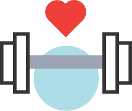 physical therapy movement icon with dumbell and heart