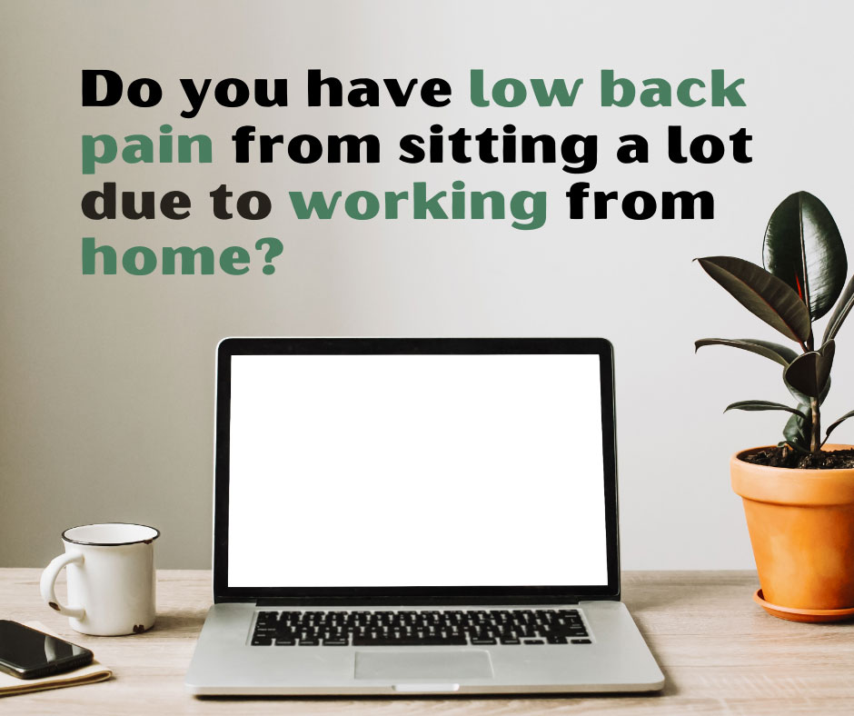 low back pain quote above desk with plant and laptop